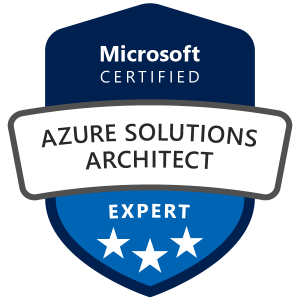 Machine generated alternative text: Microsoft  CERTIFIED  AZURE SOLUTIONS  ARCHITECT  EXPERT