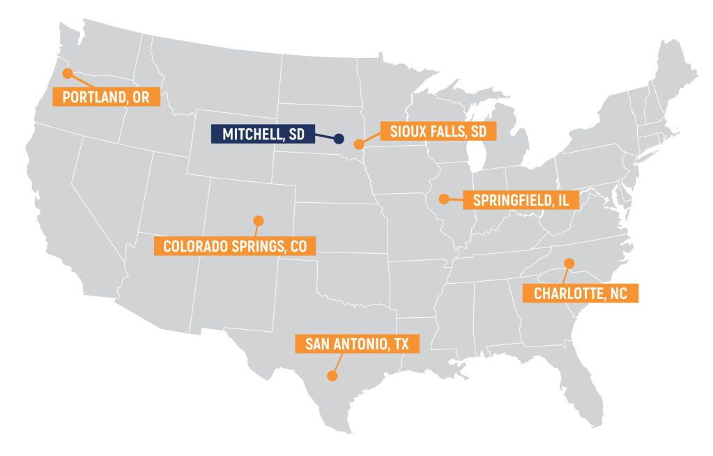 Map showing seven offices across the country. Portland, Colorado Springs, San Antonio, Mitchell SD, Sioux Falls, Springfield IL, and Charlotte.