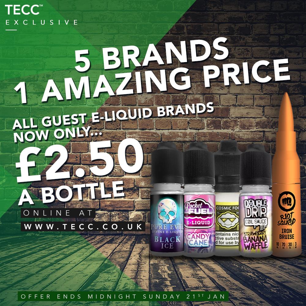 5 E-Liquid Brands – ONLY £2.50 At TECC!