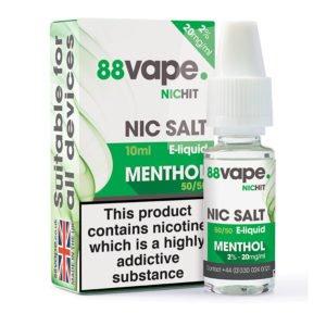 88 Vape Menthol Nicotine Salt Eliquid Bottle With Box