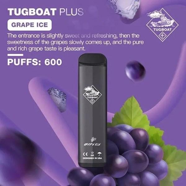 Disposable tugboat plus grape ice
