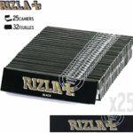 PLUZEN. Lot de 25 carnets de feuilles à rouler RIZLA Black Slim. Carnets de 40 feuilles