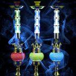 ZX Chicha narguilé – 4 Sorties,Hookah 80cm,narguilé Tabac,Longueur du Tuyau 184cm(Color:Bleu)