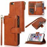 LODROC Coque iPhone 6S / iPhone 6 Coque,Housse en Cuir Premium Flip Case Portefeuille Etui avec Stand Support et Carte Slot pour Apple iPhone 6S / 6 – LOZY0300006 Marron