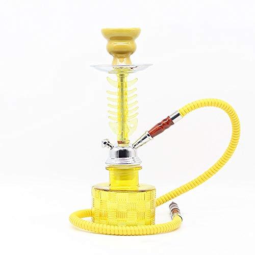 WJMT Hookah Premium Set Complet Kit de narguilé Acrylique Portable Set avec Accessoires Shisha Accessoires Tuyaux de Tuyau de Silicone Tips Pincettes (Color : Yellow)