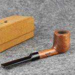 YHX Pipe à Tabac poignée Droite en Bois avec Filtre à Pipe pour Hommes de 9 mm