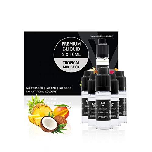 VAPOURSSON 5 X 10 ml E Mélange Tropical Cocktail | Noix de coco | Mango | l'ananas | Pinacolada | Seulement des ingrédients de haute qualité utilisés | Fait pour la cigarette électronique et E Shisha