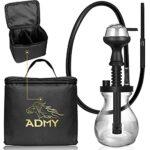 ADMY Mini narguilé Hookah – En aluminium – 33 cm – Avec tuyau en silicone – Embout buccal en verre – Tête en silicone – Pince, diffuseur de tube plongeur – Sac de voyage (noir)