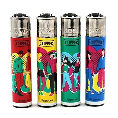 Tabac du Bassigny Lot de 4 Briquets Clipper Décors The 80s Mix 2A