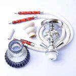 TVVT Kit de narguilé pour narguilé – Kit complet Hookah avec tout le vase en verre – Double tuyau – Robuste et léger – Pour les hôtels et les bars D