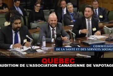 QUEBEC: Audizione dell'Associazione Vape canadese.