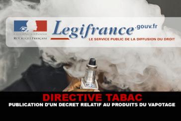 DIRECTIVE : Publication d'un décret relatif aux produits du vapotage