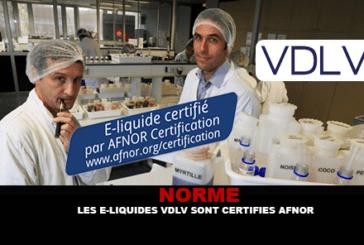 STANDARD: VDLV e-liquids are Afnor certified.