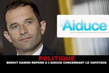 POLITIQUE : Benoit Hamon répond à l'Aiduce concernant le vapotage.