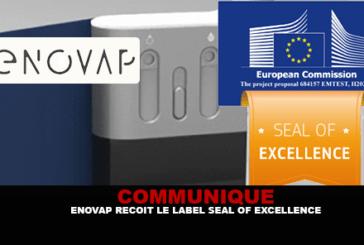 COMMUNIQUE : Enovap reçoit le label «Seal of Excellence» de la commission Européenne !