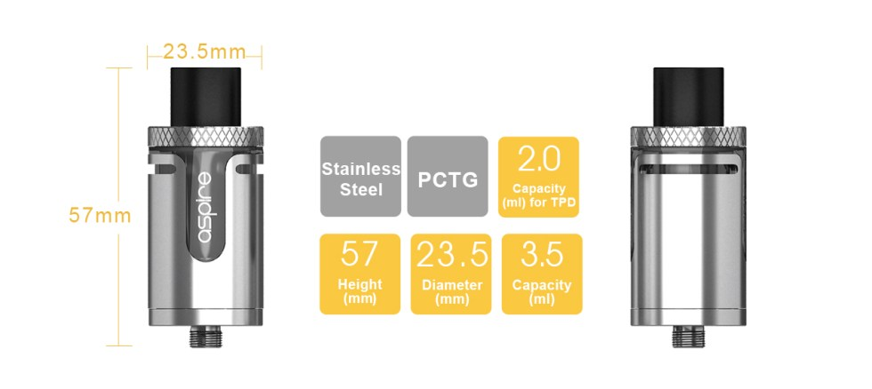 Aspire Cleito EXO Specifications