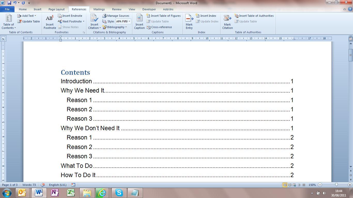Contents Tables