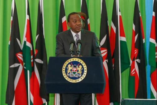 President Uhuru Kenyatta addresses the public at the GES Expo, KICC.