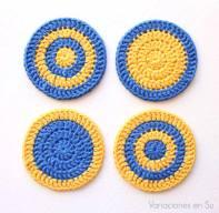 posavasos-ganchillo-círculos-amarillo-azul