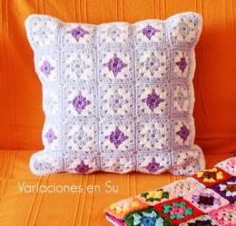 cyan-granny-squares-crochet-cushion