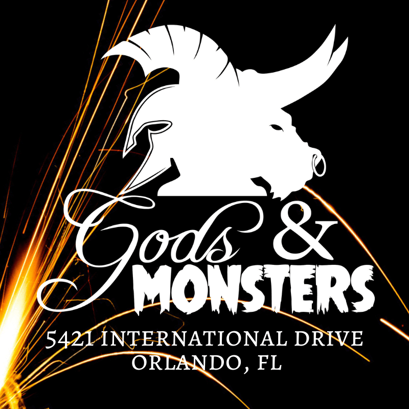 Gods and Monsters Logo and contact info