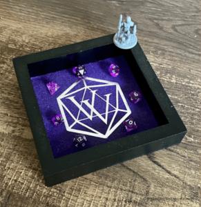 Purple VV Dice Tray with tiny purple dice and mini