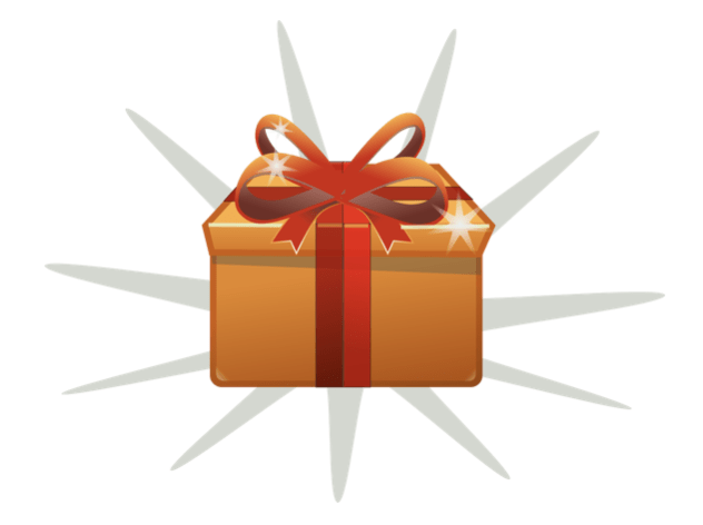 Gold present wrapped with red ribbon