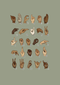 Many hands showing the ASL Alphabet