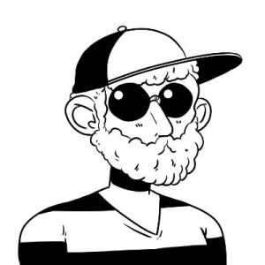 Black and white sketch of a bearded man wearing a hate, sun glasses and a striped v neck shirt.