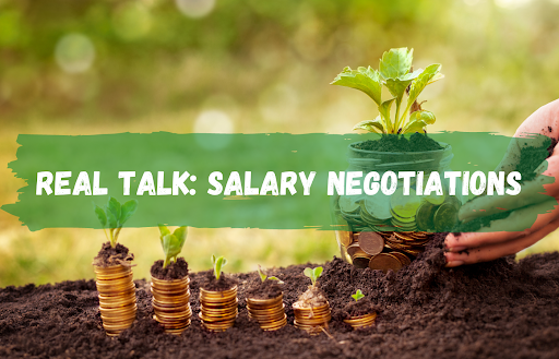 text reads real talk: salary negotiations over pennies sprouting from the dirt