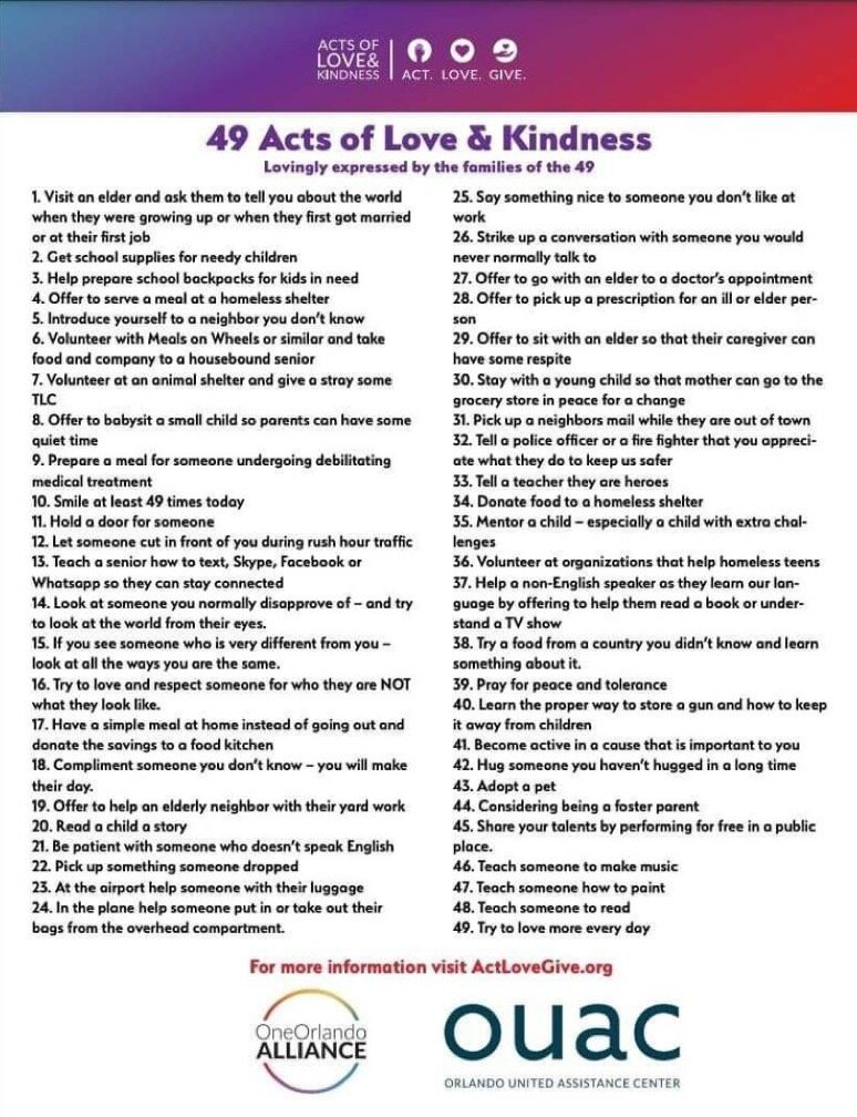 Pictured: A flyer offering 49 acts of love and kindness.