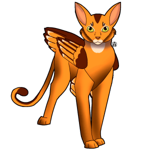Feline with wings. golden and brown colors