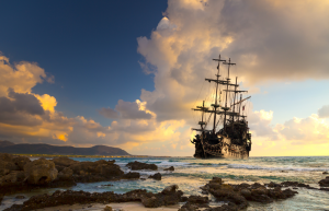 Pirate ship on the shore