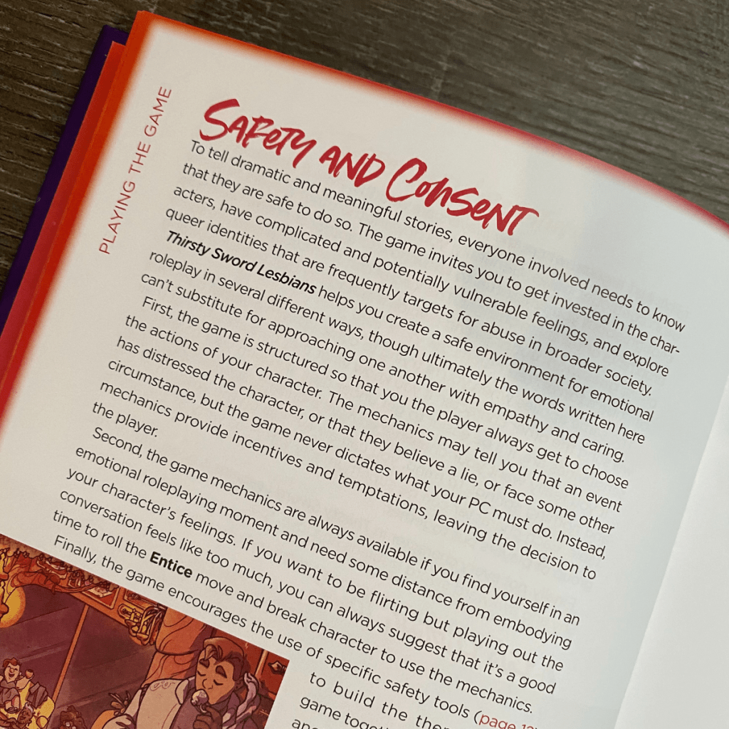 Safety and Consent Section from Thirsty Sword Lesbians RPG Book
