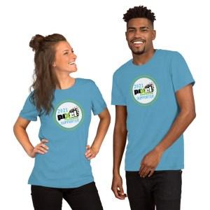 Two people wearing Team Pixel Damage 2021 Supporter Shirts