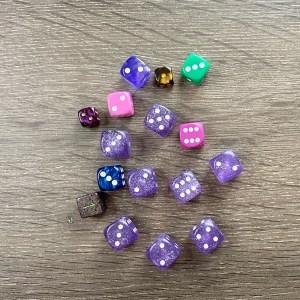 multi colored d6's