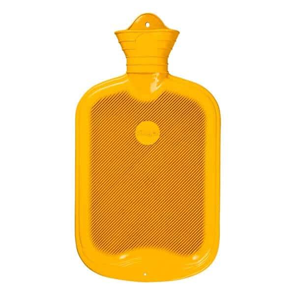 Sänger gummivärmeflaska med dubbelsidiga ribbor gul