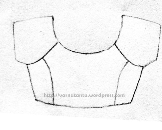 Raglan style bodice with princess line from armhole