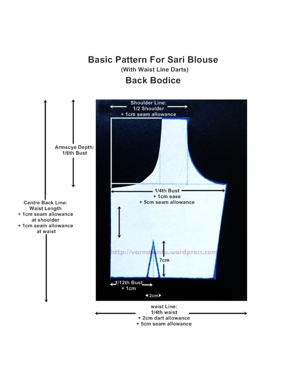 Basic Pattern for Sari Blouse With Waist Line Darts - Back Bodice