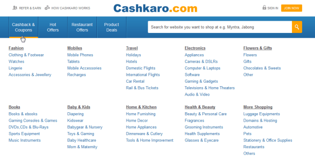 Cashbacks & Coupons for various categories on cashkaro.com