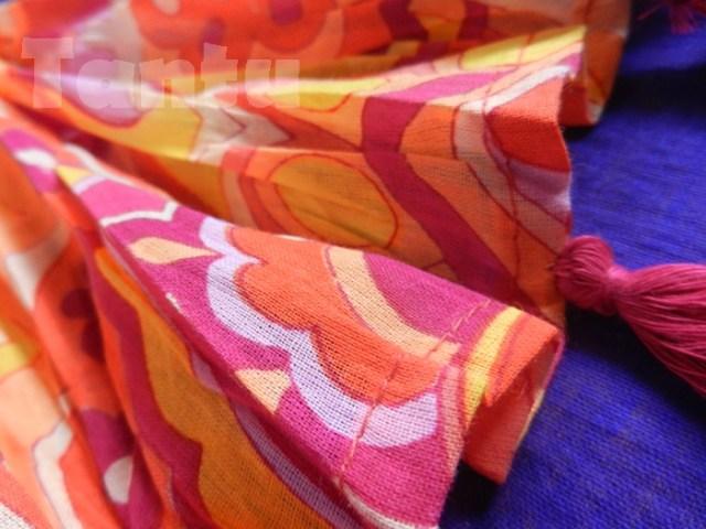 Plush Orange Printed Dupatta - Close Up