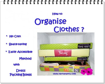 Clothes Cupboard Organiser with dress packing box.