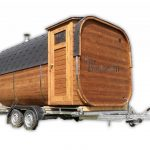 Sauna Esterna Rettangolare Su Ruote Mobile Rimorchio