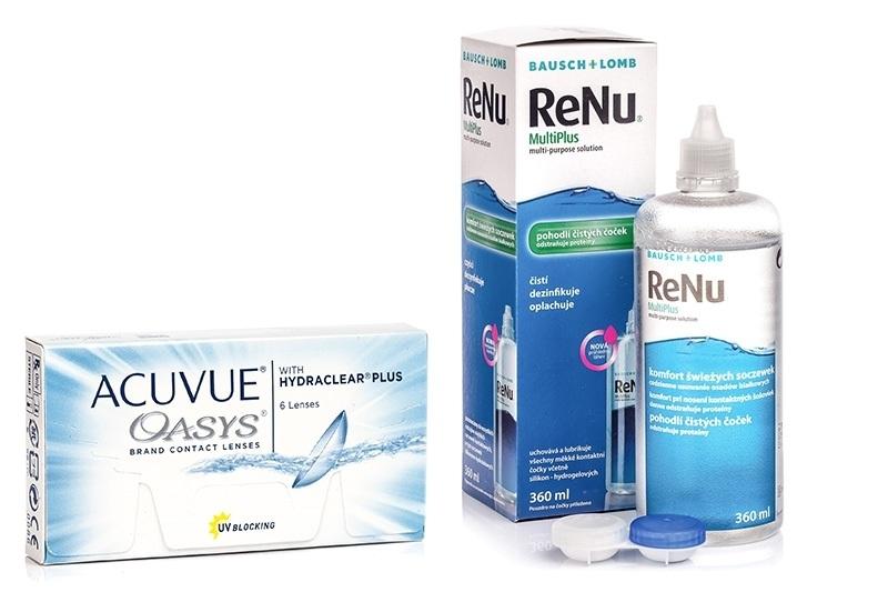 Acuvue Oasys (6 lentile) + ReNu MultiPlus 360 ml cu suport