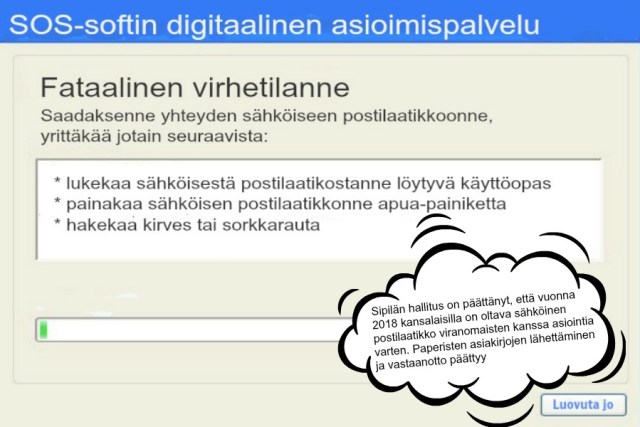 Verottajalla, kansaneläkelaitoksella ja muilla viranomaisilla on aivan erinomaisesti toimivia digitaalisia palveluja, joilla on paljon tyytyväisiä käyttäjiä. Mutta niille sadoille tuhansille kansalaisille, jotka eivät syystä tai toisesta ole internetin käyttäjiä, digimaailma on lähinnä kuvan kaltainen. (Kuva: Cai Melakoski)