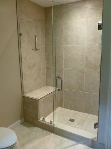 Frameless Shower Door With Notched Panel Manakin Sabot