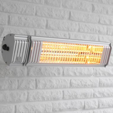 Wall with VASNER'S Appino 20 infrared patio heater with bluetooth app control