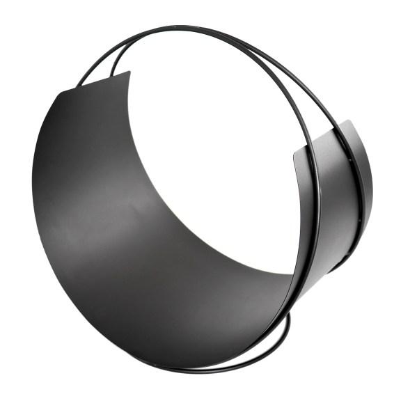 Der runde Holzkorb aus Stahl