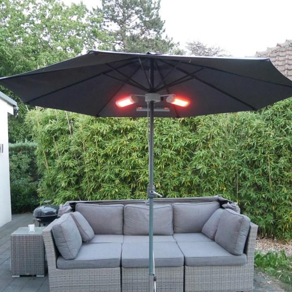 Schirmheizung mit IP65 Regenschutz für Gastro und Terrasse