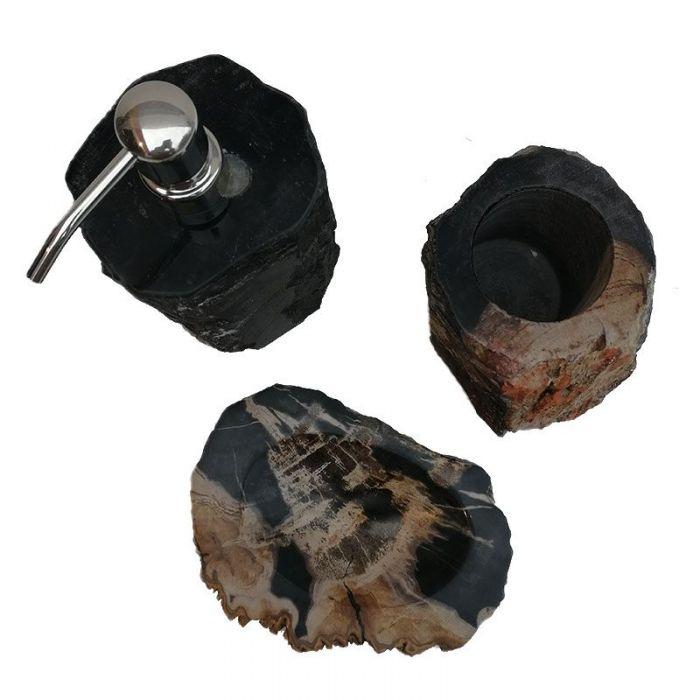 ensemble accessoires salle de bain en bois fossilise noir